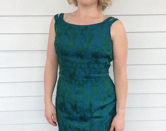 50s Green Floral Dress Blue Roses Sleeveless with Bolero Jacket S