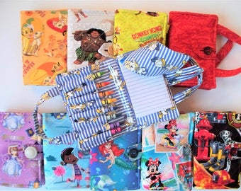 Children's Crayon Notebook,Quilted Bag Set,Your Choice:Simba Nala,Donkey Kong,Donald Duck,Moana,Ariel,Minnie,Sofia,Doc McStuffins,Dalmation