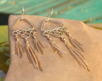 Wind Chime Earrings with Fringe