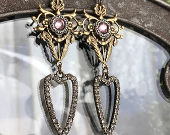 hearts divine - rhinestone earrings dangle drop sacred heart ex voto style bronze pink romantic assemblage jewelry, the french circus