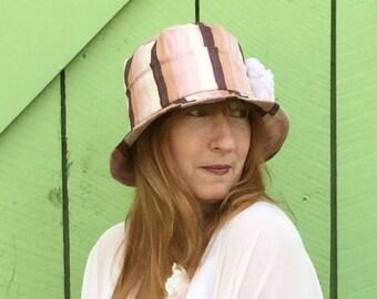 Cloche hat for women in shades of pink silk, bucket, wedding
