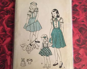 40's Vintage Girls Butterick Sewing Pattern