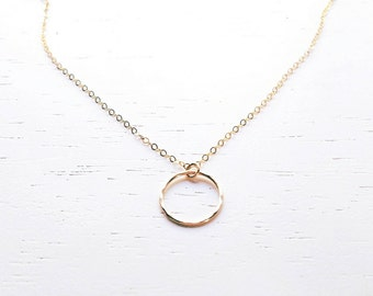 Gold Eternity Necklace - small hammered gold filled ring open circle charm delicate chain simple dainty handmade jewelry for everyday