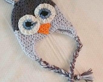 Crochet Owl Hat Newborn to Toddler Gray