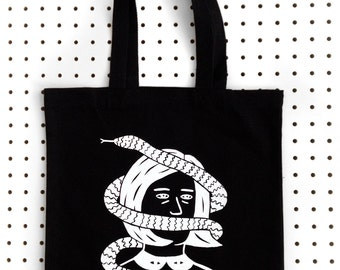 SNAKE FACE  Screen Printed Black Canvas Tote Bag