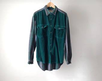 vintage CORDUROY normcore Color BLOCK button down FLANNEL sleeve oxford shirt