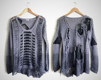 shredded sweater // post apocalyptic shredded top // upcycled sweater // punk clothing // upcycled clothing // shredded shirt // grunge top