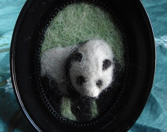 "Panda - framed needle felted bas relief sculpture -- wool ""painting"""
