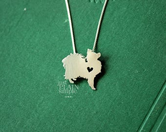 Papillon necklace, sterling silver hand cut pendant with heart, tiny dog breed jewelry