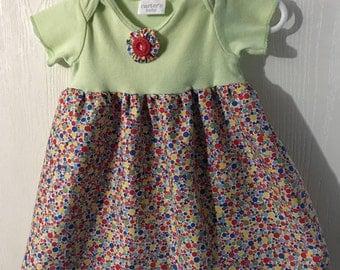 Handmade Light Green Onesie Dress with Multi-colored Skirt Size 0-3