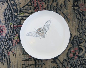 Ceramic Art Plate Woodland Cicada Locust Insect Hand Drawn One of a Kind Gift Idea Home Decor, Handmade Artisan Pottery by Licia Lucas Pfadt