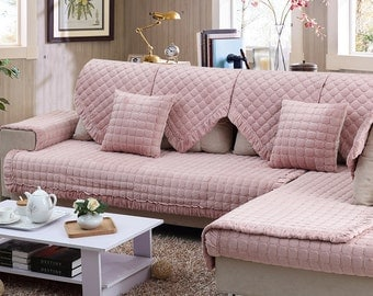 Pink Flannel Sofa Cover Warm Couch Slipcover Loveseat Cover Winter Home Decor