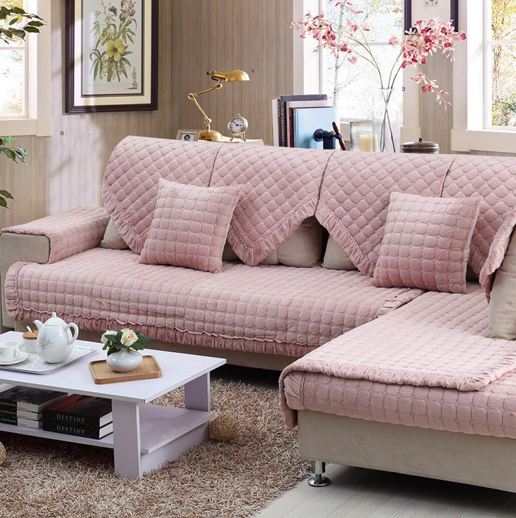 Pink Sofa Cover: Pink Flannel Sofa Cover Warm Couch Slipcover By Ifashionlady