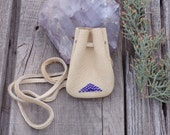 Beaded necklace bag , Sapphire blue , Purple , Buckskin leather pouch , Amulet bag  , Small beaded pouch , Minimalist pouch