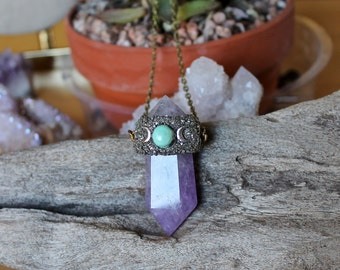 Amethyst Necklace - Turquoise Jewelry - 'Triple Goddess' Crystal Jewelry - Wiccan Jewelry - Bohemian Necklace - Blue Moon & Crystal Necklace