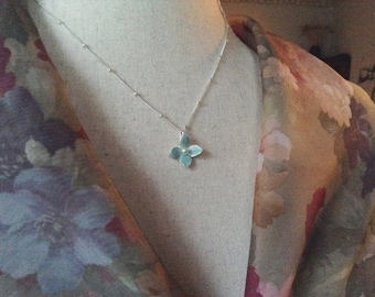 Blue - silver flower necklace