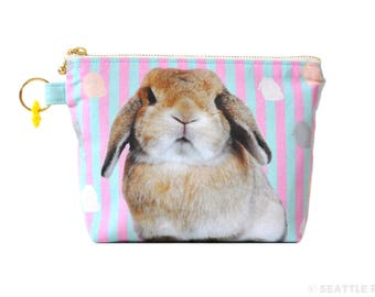 Orange Apollo's Flat Bottom Zipper Pouch for Bunny Lovers (Lop Eared Rabbit / Holland Lop, Pink x Mint)