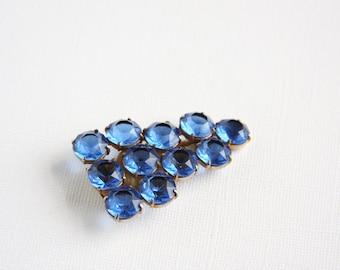 Vintage Rhinestone Dress Clip Blue Large Stones Chunky Grape Cluster Royal Blue Cornflower Blue Unfoiled Gold Tone Simple Shoe Clip 1930s