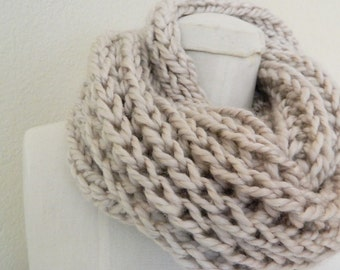 Light Brown Oatmeal Cream Soft Chunky Mini- Infinity Scarf for women - Handknit, Ready to Ship