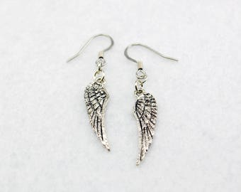 Silver Wing Earrings - Silver Angel Earrings, Silver Wings Jewelry, Silver Angel Wing Earrings, Silver Eagle Wings Earrings