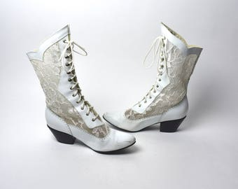 Leather and Lace - 1980's White Lace Victorian Boots, Size 7 M