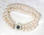 Vintage Ivory Pearl Sapphire Rhinestone Bridal Bracelet, Art Deco 2 Strand Glass Ivory Pearl Ornate Pave Clasp Something Blue Old 1940s
