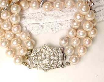1920s Antique Pearl Rhinestone Bracelet, Art Deco Multi Strand Glass Ivory Pearl Bridal Jewelry Ornate Pave Clasp Vintage Wedding Gatsby