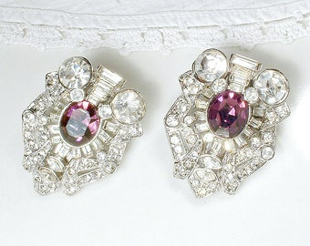 OOAK Vintage Wedding Purple Hair Clip PaiR OR 1, Eggplant Amethyst Rhinestone Art Deco Bridal, 1920s Dress Clip Old Hollywood Headpiece