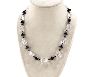 Clear Glass Nuggets Necklace with Spinel Crystals and Picasso Beads