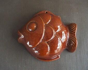 Vintage Chocolate Brown Pottery Fish Mold Wall Art