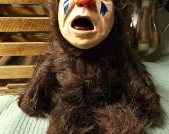 Handmade Scary Crying Baby Clown Teddy Bear Doll