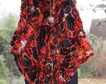Fiery red Felted wool scarf shawl orange black wrap scarf - cobweb felted - MADE TO ORDER - fiber art to wear lagenlook