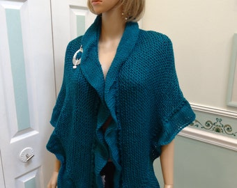 SHAWL,PRINCESS KATE Middleton style, Teal, hand knitted in worsted weight, acrylic yarn ,ruffled edge , included removable brooch