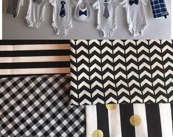 Baby Shower Decoration, Boy Kit, black and white clothesline with Tie and Bow Tie Onesies, Burp Cloths, Bib, ribbon and clothespins included