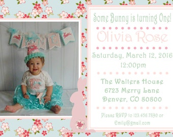 Easter Bunny Shabby Chic Invitation with picture - (15) Printed With Envelopes- Birthday/Shower Invitations- bunny  Easter spring