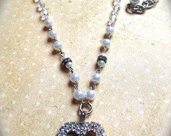 Rhinestone Heart Necklace , Vintage Heart Handmade Necklace