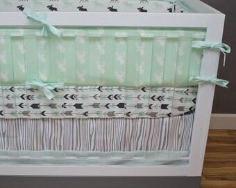 Crib Bedding Moose, Mint Navy Gray Deer Moose Feather Crib Bedding, Baby Boy Bedding, Baby Boy Woodland Nursery, Wood Grain Nursery Bedding