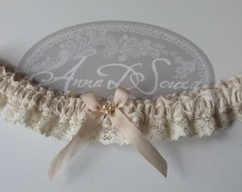 Blush nude silk and lace Wedding Garter,  Nottingham lace, blush silk ribbon and Swarovski crystal pearls, wedding lingerie
