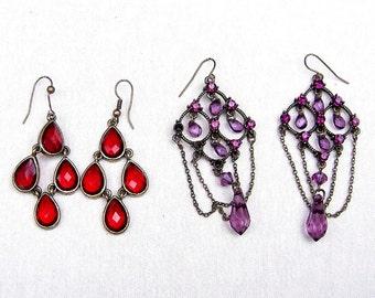 2 pair ethnic style earrings dangle drop earrings pierced hook fitting ethnic jewelry tribal fusion belly dance (AAE)
