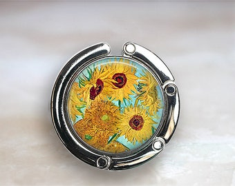 Van Gogh Sunflowers purse hook, Sunflower wedding gift, rustic Sunflower Wedding bridesmaid gift rustic wedding bridesmaid gift purse hanger