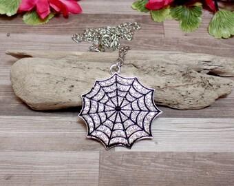 Rhinestone Spider Web Necklace - Rhinestone Web Necklace
