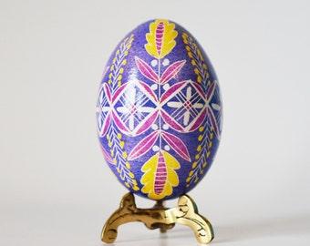 Mother's day gift Purple and Yellow Pysanka egg Ukrainian Easter egg fertility and tree of life symbol spirituality rebirth