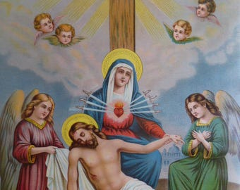 """Antique religious print """"Beneath the Cross"""" Mary Blessed Mother The Pieta  large print"""