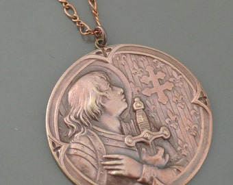 Vintage Necklace - Joan of Arc Necklace - Copper Necklace - Brass Necklace - Catholic Necklace - Religious Necklace -handmade jewelry