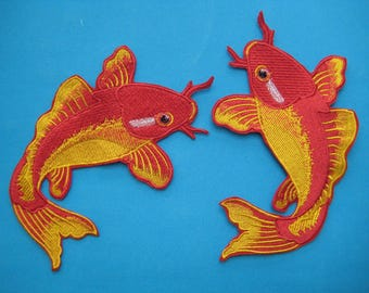 SALE~ 2 pcs Sew-on embroidered Patch Pair of Red Koi Fish 6.5 inch