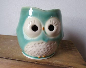 Hooter Owl Mug (Eloise) in Bright Green Handmade Stoneware - Ready to Ship