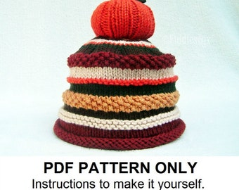 Knitting Pattern - Pumpkin Hat Pattern - the JACK Hat (Newborn, Baby, Toddler, Child & Adult sizes incl'd)