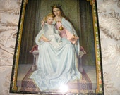 Vintage  Stunning Crown Virgin Mary/ Child  Jesus/Infant of Prague Old Framed European Devotional Picture Icon.