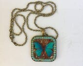 Butterfly Necklace, Blue and Orange, Metamorphosis, Spring Jewelry, Mosaic Pendant, Carnelian Pendant, Camilla Klein, Micro mosaic