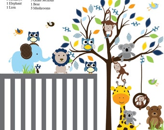 Kids Decals Kids Wall Decals Tree Animal Sticker Baby Nursery Decal